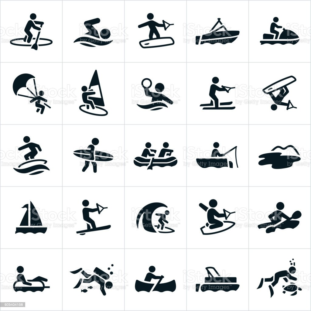 Water Recreation Icons vector art illustration