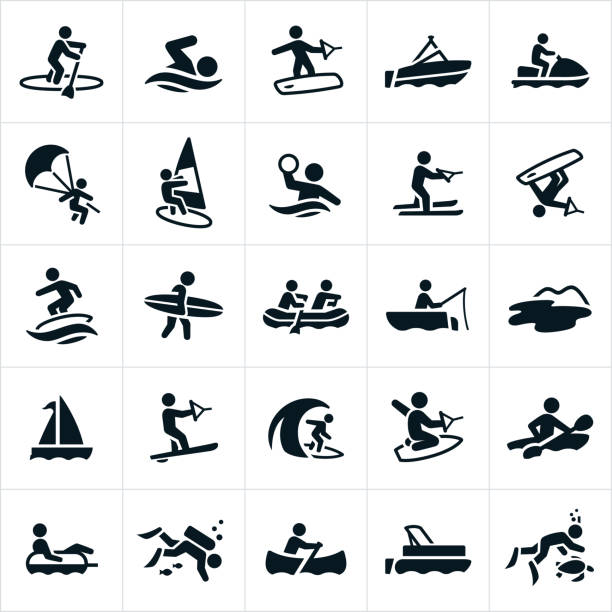 Water Recreation Icons Icons related to water sports and recreation. The icons include paddleboarding, swimming, wakeboarding, boating, watercraft, parasailing, windsurfing, water polo, water skiing, wakesurfing, surfing, whit water rafting, fishing, sailing, slalom water skiing, kneeboarding, kayaking, scuba diving, canoeing and snorkeling to name a few. surf stock illustrations