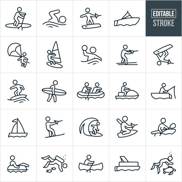 Water Recreation Thin Line Icons - Editable Stroke A set of water recreation icons that include editable strokes or outlines using the EPS vector file. The icons include person paddle boarding, person swimming, person wake boarding, motor boat, person parasailing, person kite surfing, person playing water polo, person water skiing, person wake surfing, person surfing, two people rafting, person on person water craft, person fishing from boat, sailboat, person Solomon skiing, person kneeboarding, person kayaking, person riding in tube, person scuba diving, person in canoe, pontoon boat and a person snorkeling. surf stock illustrations