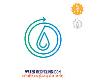 Water recycling vector icon illustration for logo, emblem or symbol use. Part of continuous one line minimalistic drawing series. Design elements with editable gradient stroke line.