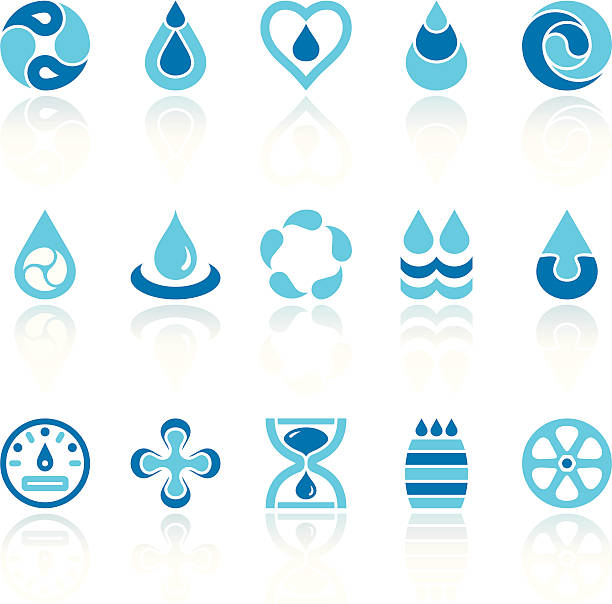 water recycling symbols Set of 15 variable water saving/recycling symbols, with reflections on individual layer. Large JPEG (3000x2900), layered AI EPS 8. Archive: screensize JPEG, large 300 dpi layered PSD, 2 large PNG for icons and reflections, AI 7. Only linear gradients on reflections. teardrop stock illustrations