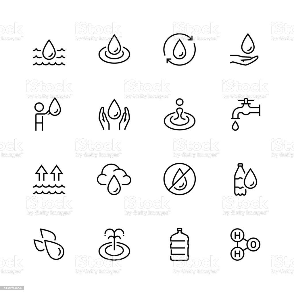 Conjunto de água relacionadas vetor ícones no estilo de linha fina - ilustração de arte em vetor