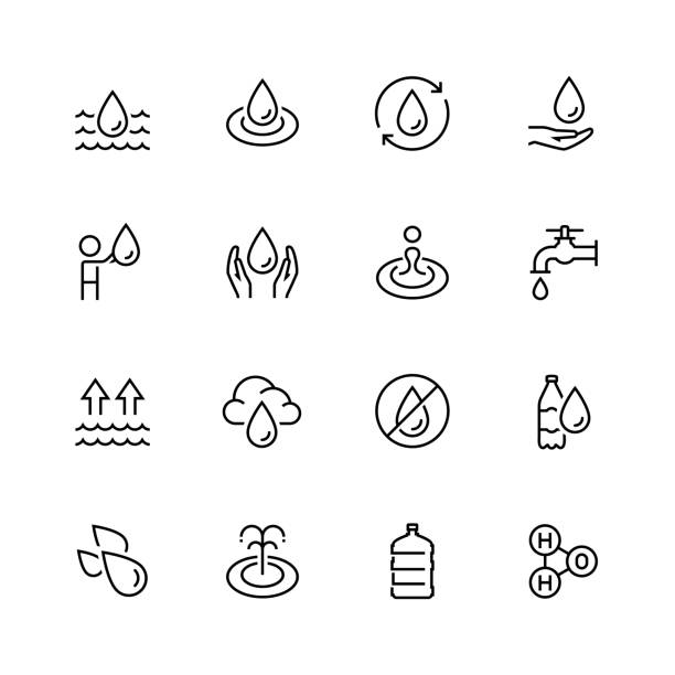 i̇nce çizgi stilinde su ilgili vektör icon set - tap water stock illustrations