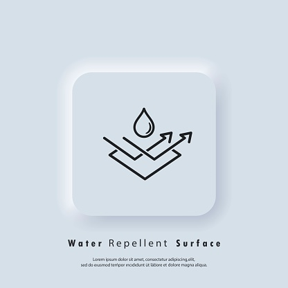 Water repellent surface icon. Waterproof icon, hydrophobic symbol. Vector EPS 10. UI icon. Neumorphic UI UX white user interface web button. Neumorphism