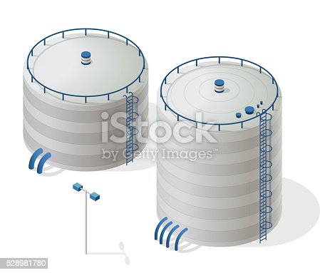 Water reservoir isometric building info graphic. White water supply resource. Big water reservoir. Pictogram industrial chemistry cleaner set with blue details. Flatten isolated master vector icon.