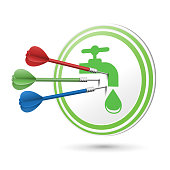 water resource icon target with darts hitting on it