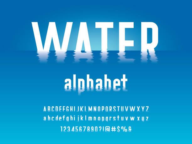 czcionka tętnienia wody - fala woda stock illustrations