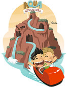 Water Roller Coaster Amusement Park, vector illustration cartoon.