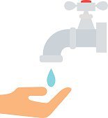 Water saving concept ecology environment drop eco natural flat vector