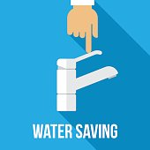 Vector concept of water saving. Flat style.