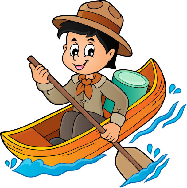 Water Scout Boy Theme Image 1 Vector Art Illustration