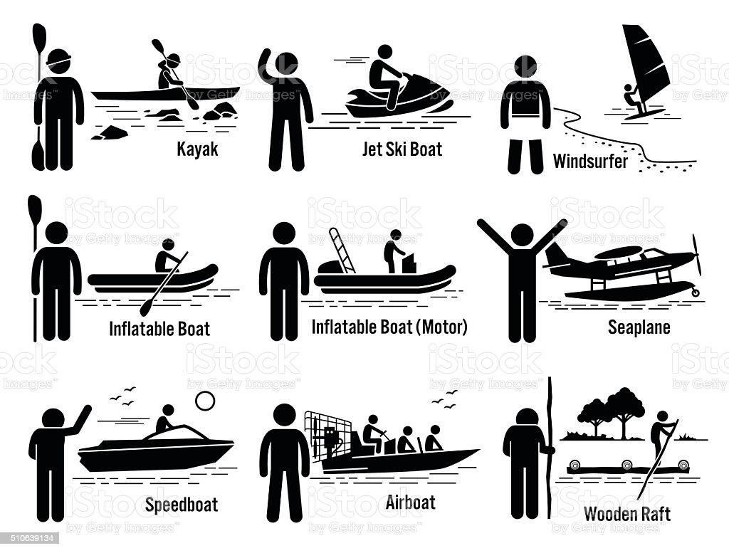 Water Sea Recreational Vehicles and People Set Illustrations vector art illustration