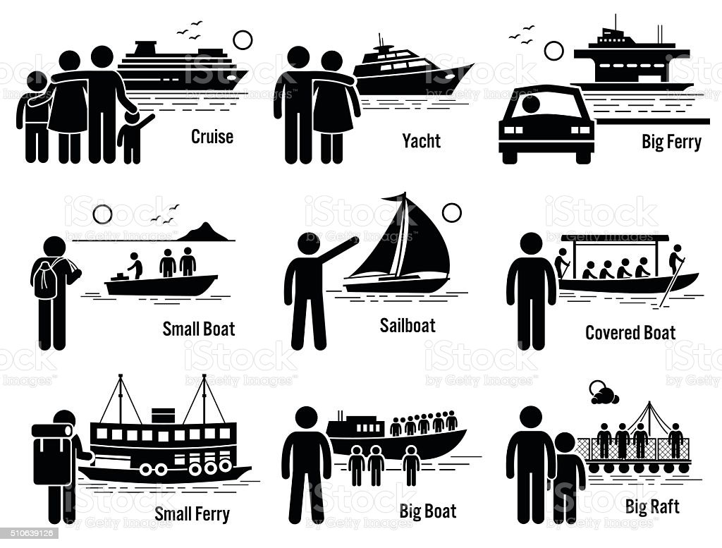 Water Sea Transportation Vehicles and People Set Illustrations