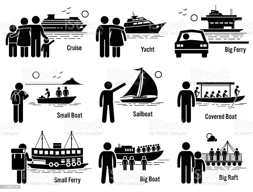 Water Sea Transportation Vehicles and People Set Illustrations vector art illustration