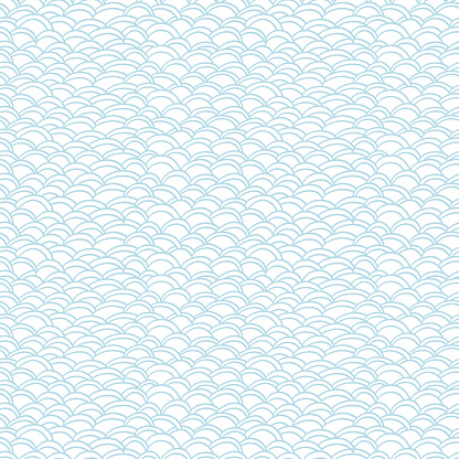 Water seamless pattern and wavy thin lines background design, monochrome nature wallpaper. Seamless texture. Vector illustration, isolated.