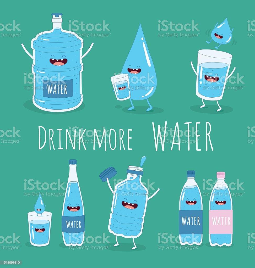 Water set vector art illustration