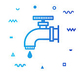 Water shortage outline style icon design with decorations and gradient color. Line vector icon illustration for modern infographics, mobile designs and web banners.