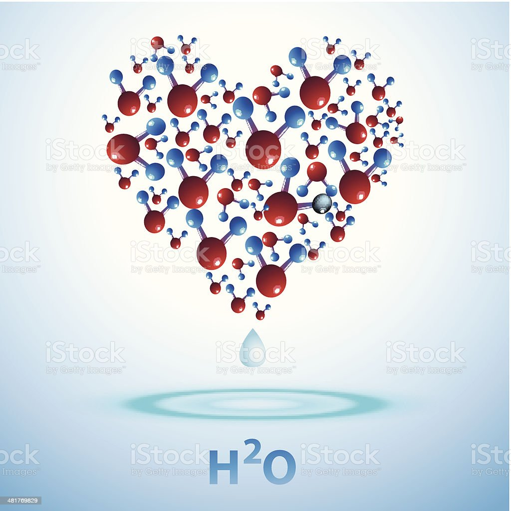 H2O. Water sign in the shape of heart. vector art illustration