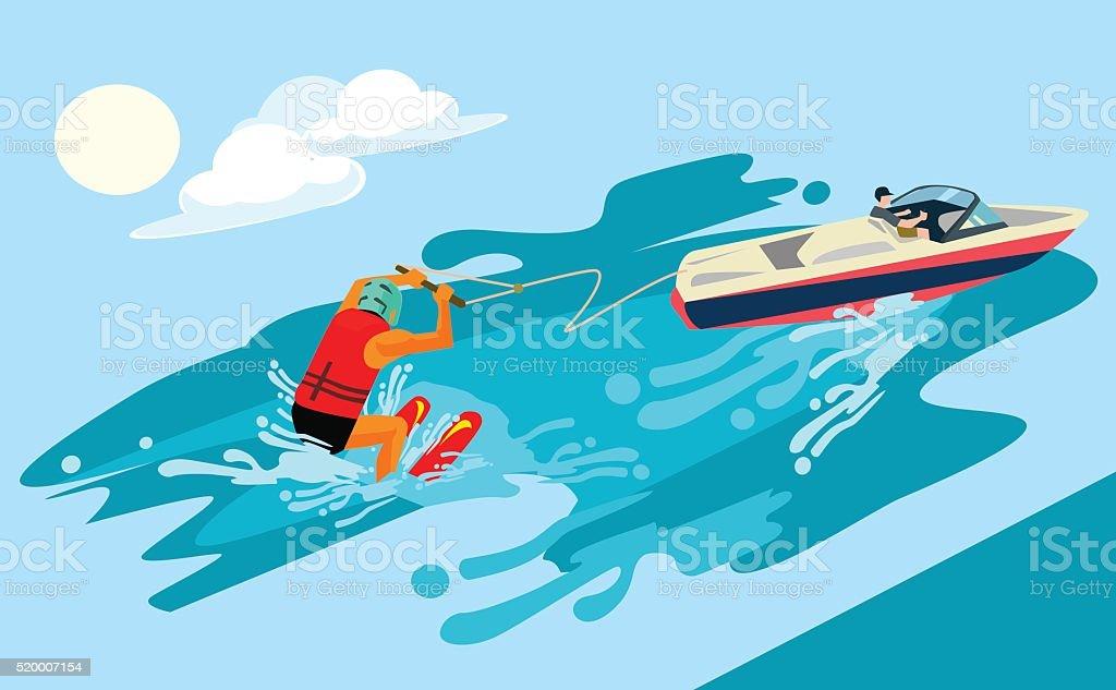 Water skiing boat clip art