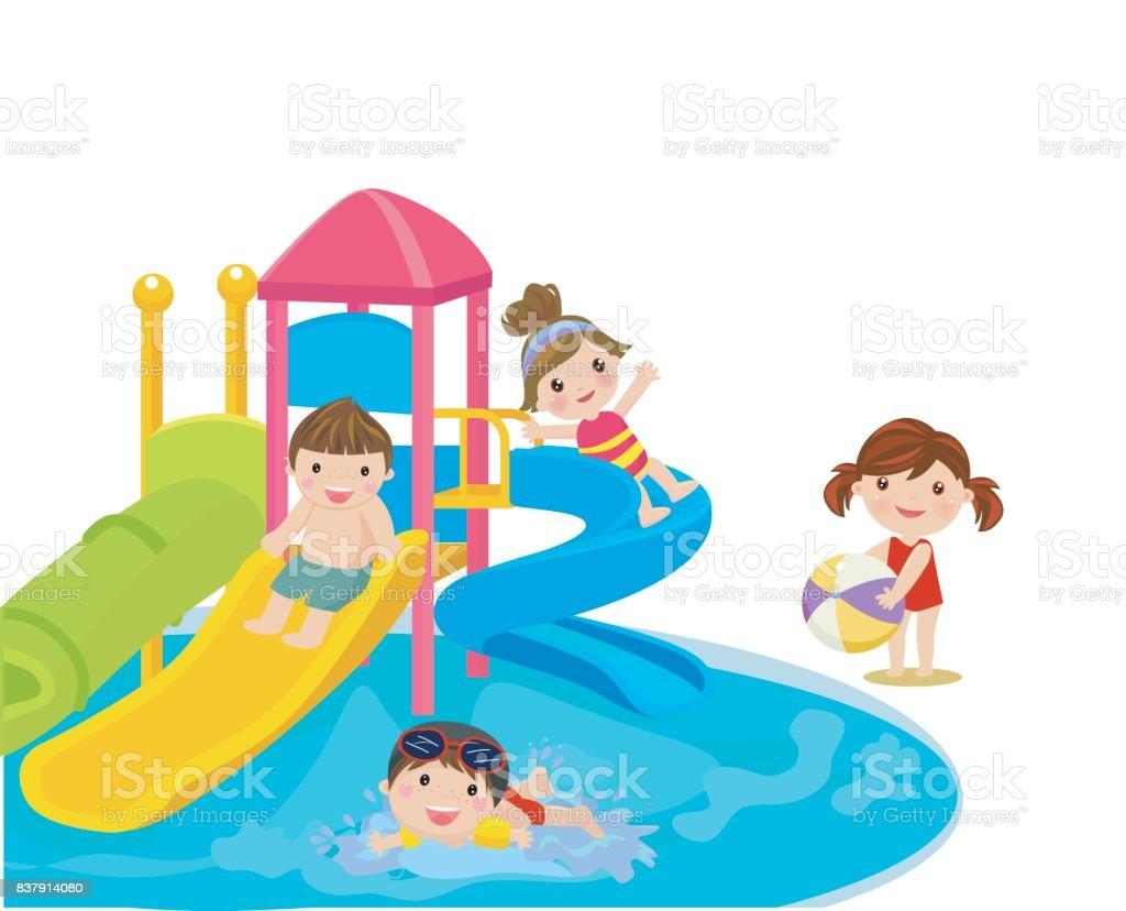 water slide for family and children. vector art illustration