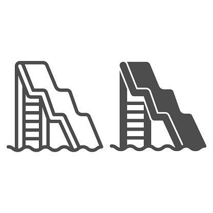 Water slide with ladder line and solid icon, Aquapark concept, water attractions sign on white background, Big water slide icon in outline style for mobile concept and web design. Vector graphics.