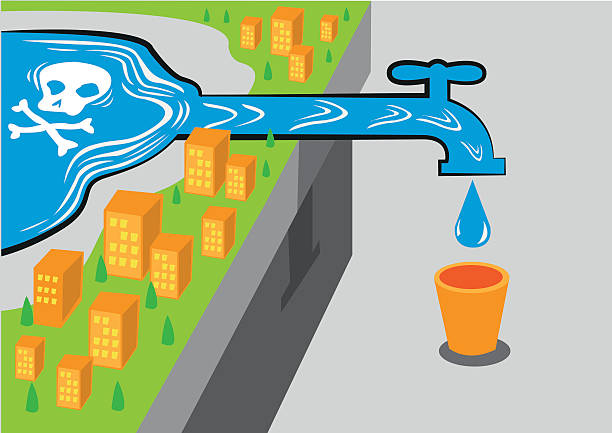 Water source has poison like lead. Editable Clip art. A community drinks from a contaminated water source caused by deadly elements such as lead lead poisoning stock illustrations
