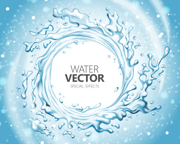 Water special effect Water special effect, vortex shape splashing water in 3d illustration on glitter blue background flushing water stock illustrations
