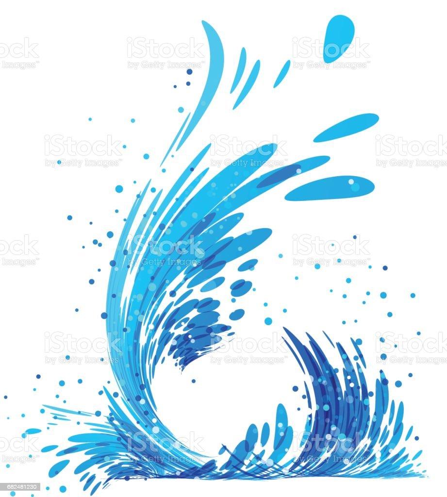 Water splash on white - ilustração de arte em vetor