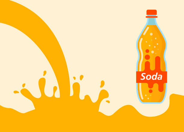 illustrazioni stock, clip art, cartoni animati e icone di tendenza di water splash orange lemonade soda liquid.bottle glass lemonade. - fruit juice bottle isolated