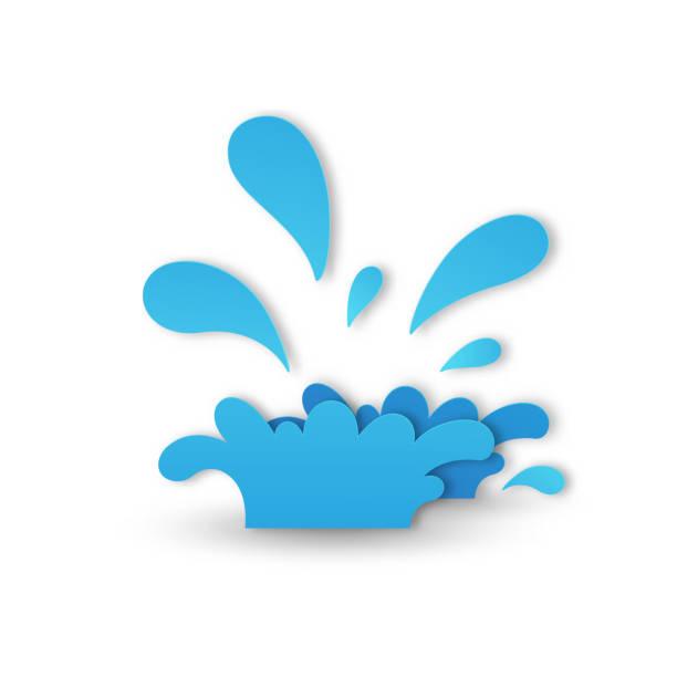 water splash paper cut style vector art illustration