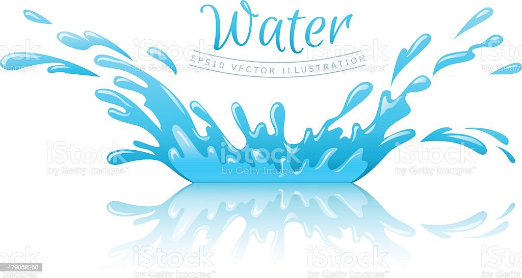 Water splash pool with drops and reflection vector art illustration