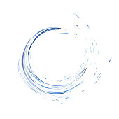 Water splash ring with drops isolated on white background. blue realistic aqua circle. top view. 3d illustration. Liquid surface backdrop created with gradient mesh tool. vector.