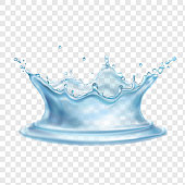 Water splash with transparency realistic vector illustration