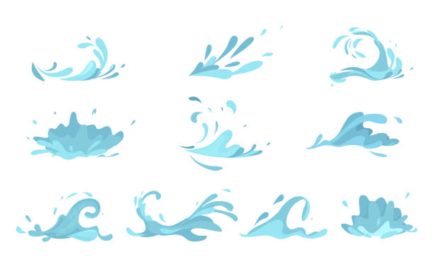 ilustrações de stock, clip art, desenhos animados e ícones de water splashes collection blue waves wavy symbols. - water splash