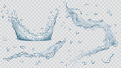 Set of transparent water splashes, water drops and crown from falling into the water in light blue colors, isolated on transparent background. Transparency only in vector file. Vector illustrations. EPS10 and JPG are available