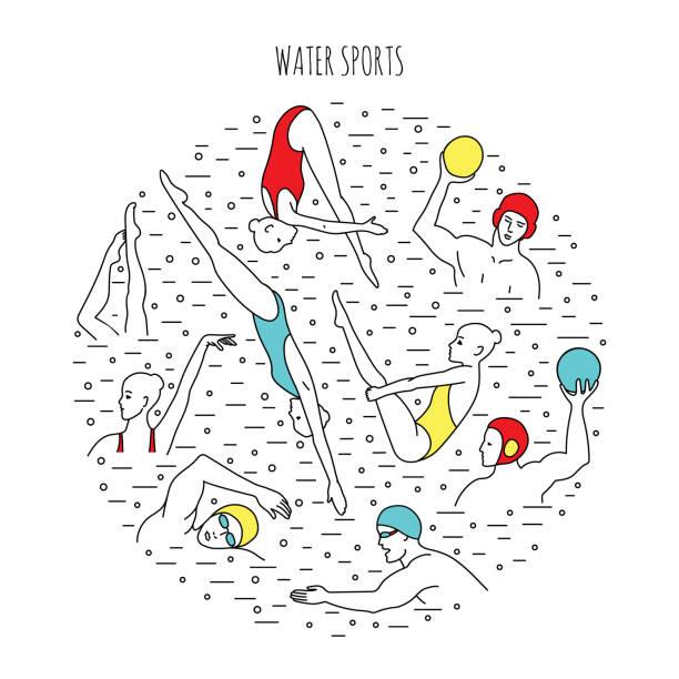 ilustrações de stock, clip art, desenhos animados e ícones de water sport background - jump pool, swimmer