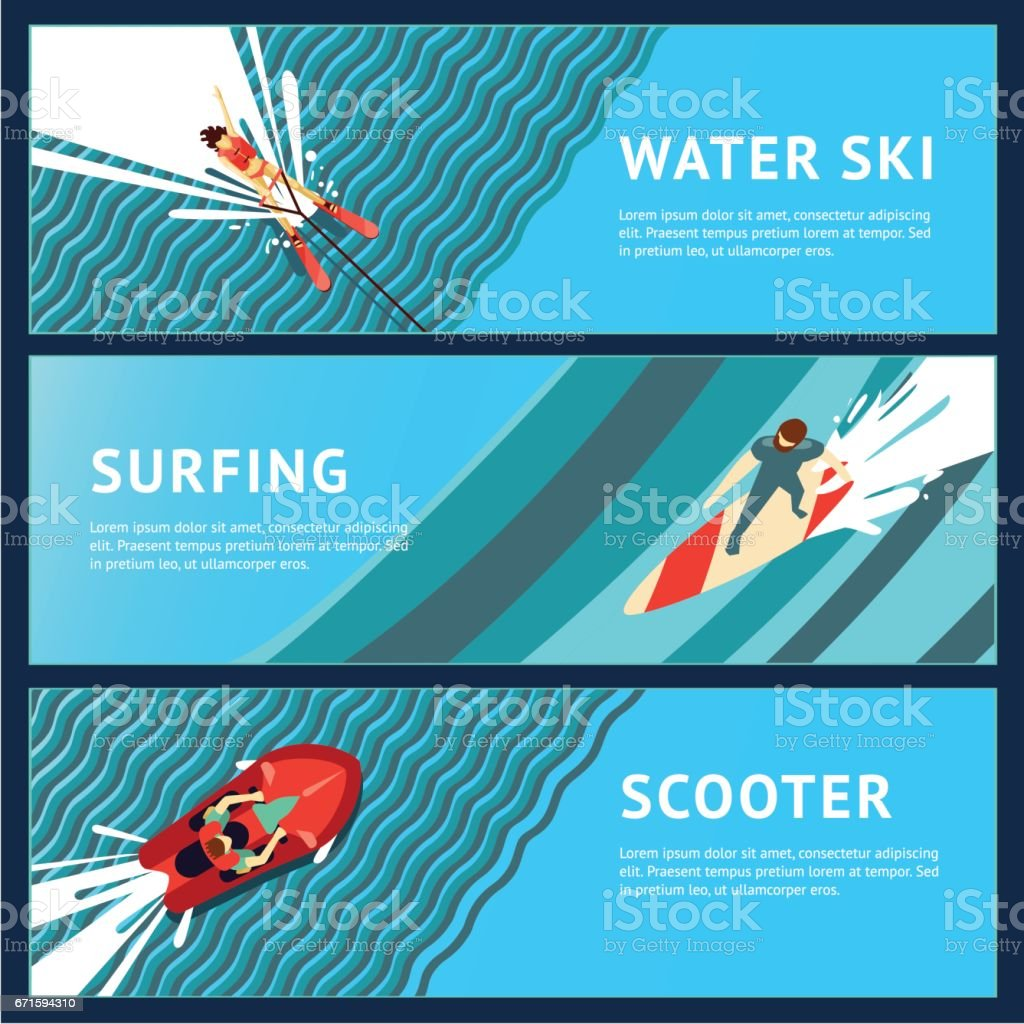 Water Sport Horizontal Banner. Flat style, top view. vector art illustration