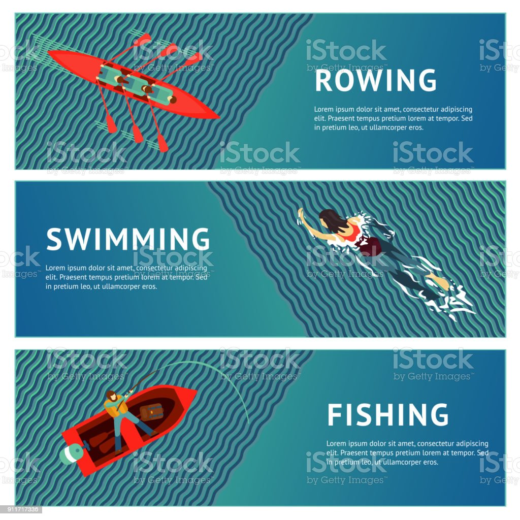Water sport. Horizontal banners set. People recreation on a river. Flat style illustration. vector art illustration