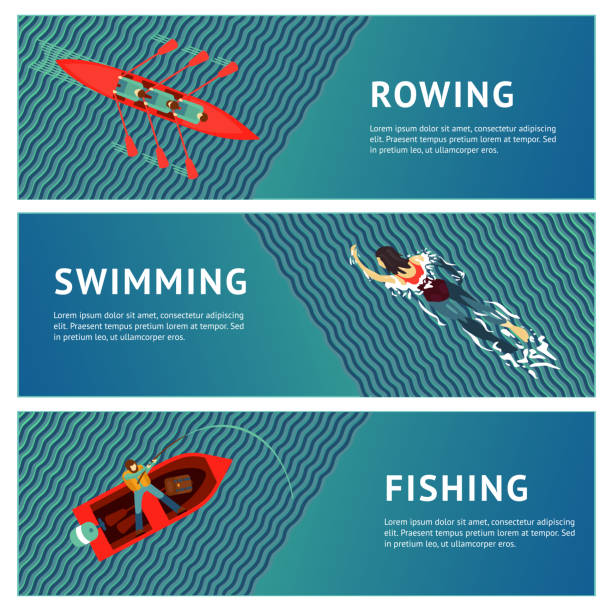 water sport. horizontal banners set. people recreation on a river. flat style illustration. - kayaking stock illustrations, clip art, cartoons, & icons