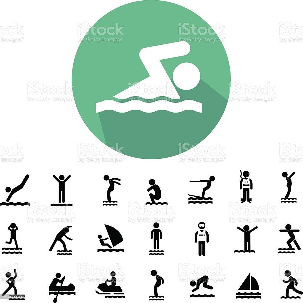 water sport icon set vector art illustration