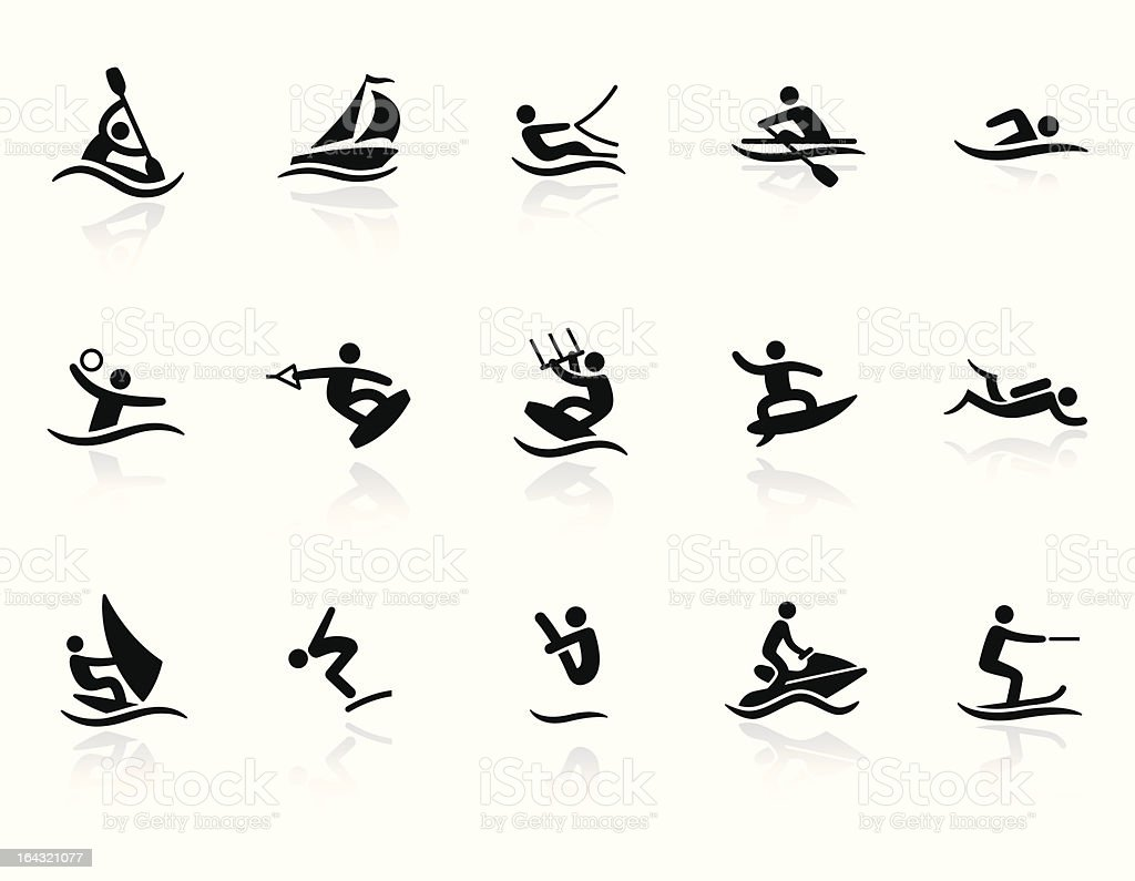 Water Sport icons vector art illustration