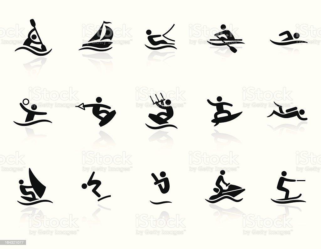 Ícones de esportes aquáticos - ilustração de arte em vetor