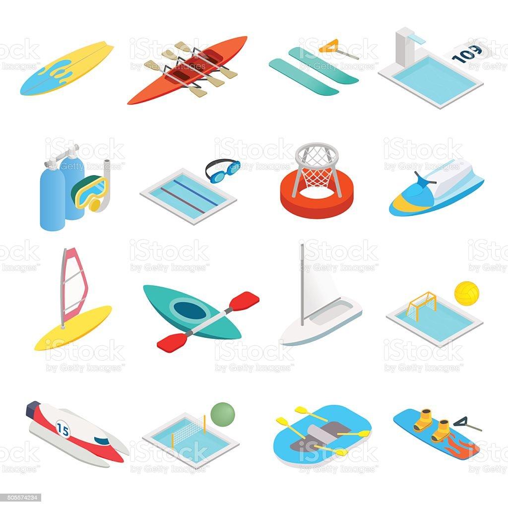 Water sport isometric 3d icons vector art illustration