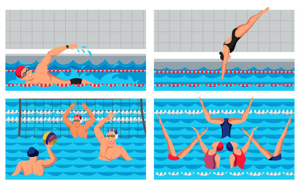 ilustrações de stock, clip art, desenhos animados e ícones de water sport people sportsmen cartoon scene set - jump pool, swimmer