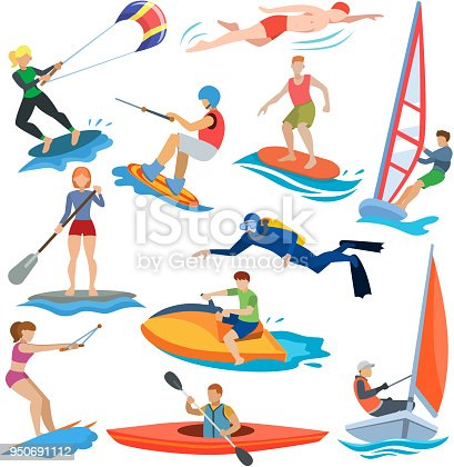 istock Water sport vector people in extreme activity or windsurfer and kitesurfer illustration set of sportsman characters swimmers surfing or windsurfing isolated on white background 950691112