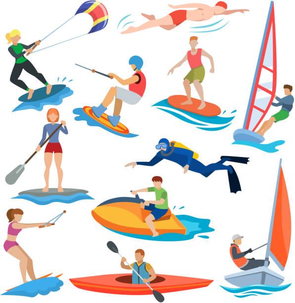 ilustrações, clipart, desenhos animados e ícones de pessoas de vetor esporte água em atividade extrema ou ilustração windsurfista e kitesurfer conjunto de nadadores de caracteres desportista surf ou windsurf isolado no fundo branco - esporte aquático