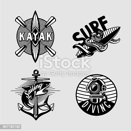 Exterme activity. Water sport vintage embleme set with kayak, scuba, anchor and surfboard. Black and white t shirt prints.