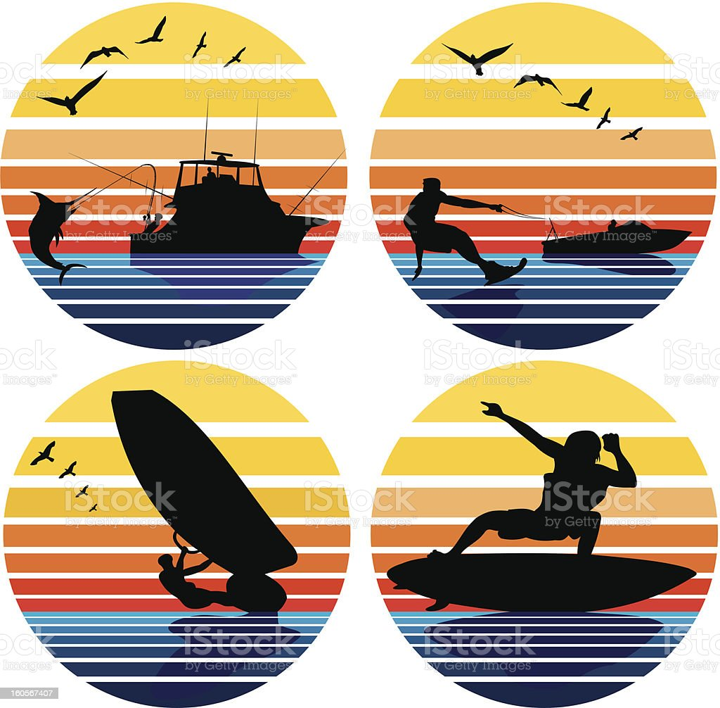water sports and leisure royalty-free stock vector art