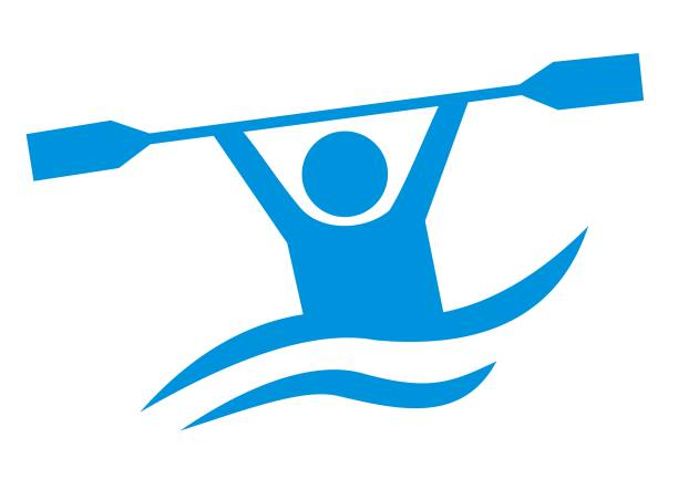 water sports, blue vector icon, canoeing - kayaking stock illustrations, clip art, cartoons, & icons
