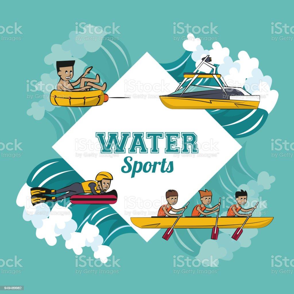 Water sports cartoon vector art illustration